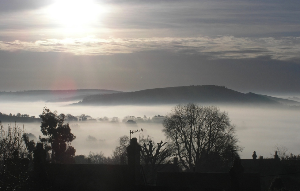Melbury Hill during a cloud inversion, seen from Shaftesbury in Dorset